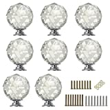 Sumnacon 8 Pcs 1.6 Inch Clear Crystal Glass Door Knobs,...