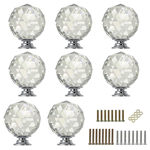 Sumnacon 8 Pcs 1.6 Inch Clear Crystal Glass Door Knobs, Round Diamond Wardrobe Doorknob/Crystal Drawer Knobs/Cabinet Cupboard Pull Knobs/Door Pull Handle with Screws with 3 Kinds Screws