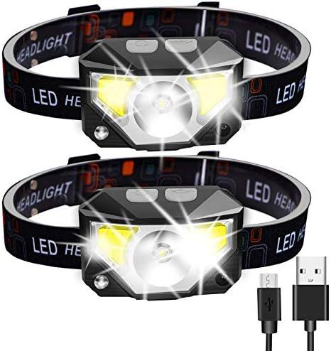 Headlamp Rechargeable 2 Packs Ultra Light Bright LED Headlamp Headlight Flashlight with White product image
