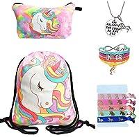 Unicorn Gifts for Girls - Unicorn Drawstring Backpack/Makeup Bag/Bracelet/Inspirational Necklace/Hair Ties [並行輸入品]