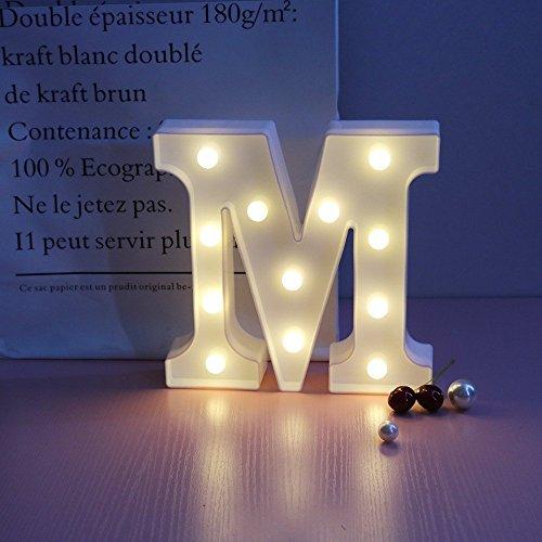 Mystery&Melody LED Alphabet Licht Brief Dekorative Lampe Licht LED Alphabet Weiß Feste Buchstaben für Party hochzeit Dekoration Licht (M)