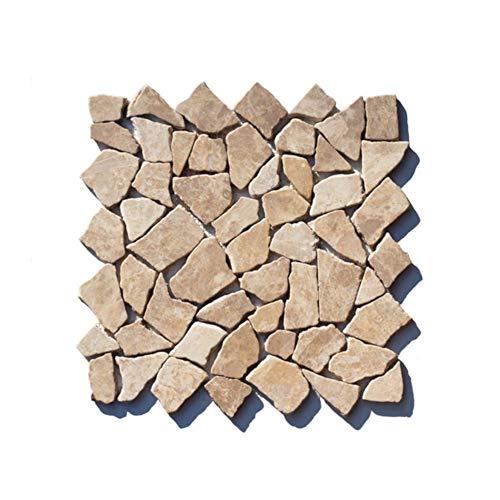 M-1-021 - 1 m² = 11 Fliesen - Marmor Bruchstein Mosaikfliese Moccacino Naturstein Badezimmer Stein Wand Boden Dekoration