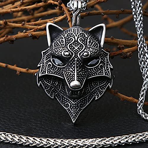 WYPAN Collar de Talismán Escandinavo con Tótem Fenrir de Cabeza de Lobo Vikingo Nórdico, Joyería Colgante Hecha a Mano de Acero Inoxidable 316L Vintage para Hombre,Wolf