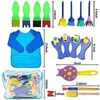 SPECOOL 56 Pezzi Pennelli Spugna per Pittura Set per Bambini, Pennello da Disegno per Bambini, Paint Spugne per Bambini Lavabile Set, la Pittura di DIY Arte e Mestieri, Grembiule #2
