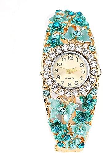ZFAYFMA Reloj de pulsera para mujer y niña, diseño de flor, cuarzo, correa de silicona, ligero, regalo de cumpleaños, boda, cian