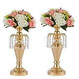 LANLONG - Juego de 2 jarrón de metal para centros de mesa de boda, decoración de flores artificiales, soporte para velas para bodas, fiestas, cenas, eventos, decoración del hogar (2 #, 2 unidades)