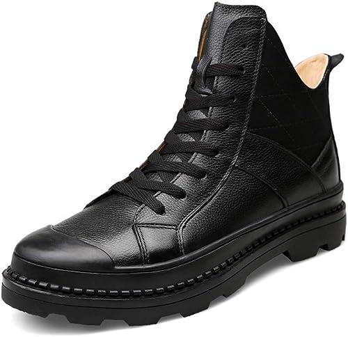 WHL.LL Pour Pour des hommes Garder au chaud Antidérapant Prougeection des orteils Bottes martin Confortable Fil à coudre Tête ronde Bottes en coton Cravate devant Chaussures simples