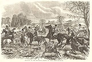 Hunting in The Holidays - Drawn by John Leech. England - 1855 - Old Antique Vintage Print - Art Picture Prints of England