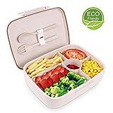 BRIGENIUS Bento Box Auslaufsichere Brotzeitbox Weizenstroh Fünf Separate Kammern Lunchbox für...