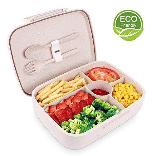 Brigenius Bento Box | Biologisch afbreekbaar materiaal | Zeer milieuvriendelijk | 5 compartimenten | Lekvrij deksel | Inclusief mes en vork