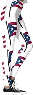 DIYCCY - Pantalones de yoga con bandera de Puerto Rico para mujer de cintura alta