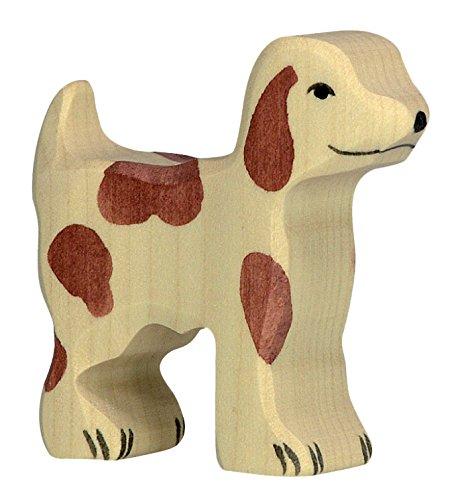 cama24com Hofhund klein Hund Bauernhof Holzfigur Holzspielzeug von Holztiger mit Palandi® Sticker