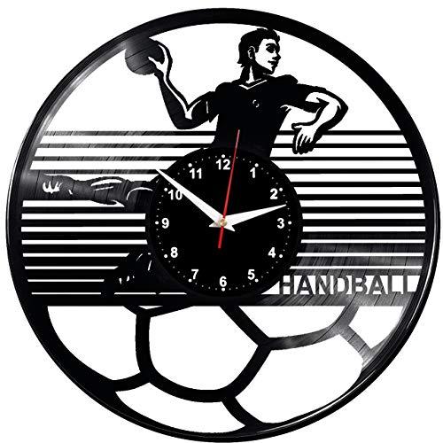 EVEVO Handball Handball Wanduhr Vinyl Schallplatte Retro-Uhr Handgefertigt Vintage-Geschenk Style Raum Home Dekorationen Tolles Geschenk Uhr Handball Handball