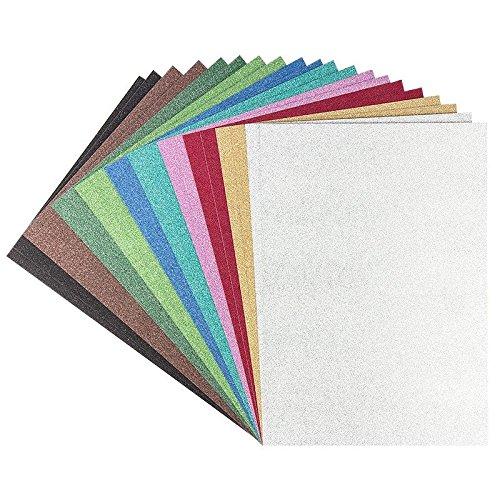 Bastelkarton, Bastelpapier, Glitter-Karton Diamantiert, DIN A4, 10 verschiedene Farben, 20 Stück | für Grußkarten, Tischkärtchen, Scrapbooking, Taschen, Boxen, Deko basteln