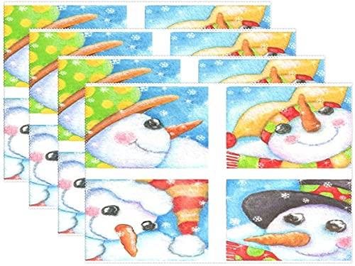 Juego de 6 manteles individuales de copo de nieve con diseño de muñeco de nieve para invierno, manteles individuales de 30,5 x 45,7 cm, para comedor, hogar, cocina, decoración interior, 6 unidades