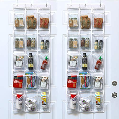 2 Pack - SimpleHouseware Crystal Clear Over the Door Hanging Pantry Organizer 52 x 18