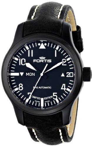 Fortis Herren-Armbanduhr XL B-42 Flieger Big Date PVD Black Analog Automatik Leder 655.18.91 L.01