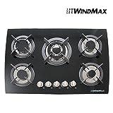 30' Tempered Glass Built-in Kitchen 5 Burner Oven Gas Cooktops Black
