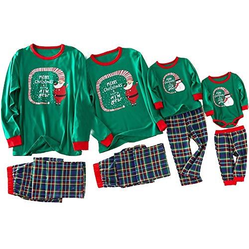 Familia a juego de pijamas de Navidad conjunto Homewear manga larga superior y pantalones PJs ropa de dormir - verde - 6-9 meses