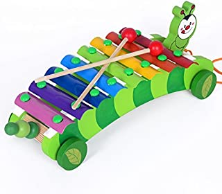 Akrobo Wooden Attractive 8 Notes Caterpillar Musical Instrument Featured Xylophone for Kids (Multicolour)