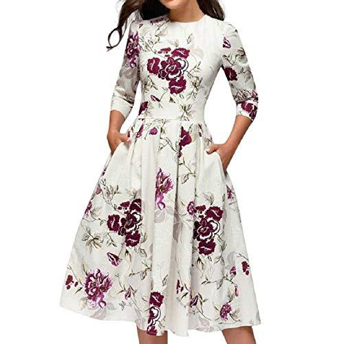 Ulanda Women's Elegent Floral Vintage Dress 3/4 Sleeves Midi Evening Dress Cocktail Prom Party Dresses White