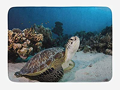 Doormats Turtle Bath Mat, Underwater Sea Animal on Coral Reef in Red Sea Egypt Amphibian Exotic Nature 23.6 X 15.7 inches, Brown Coconut Aqua