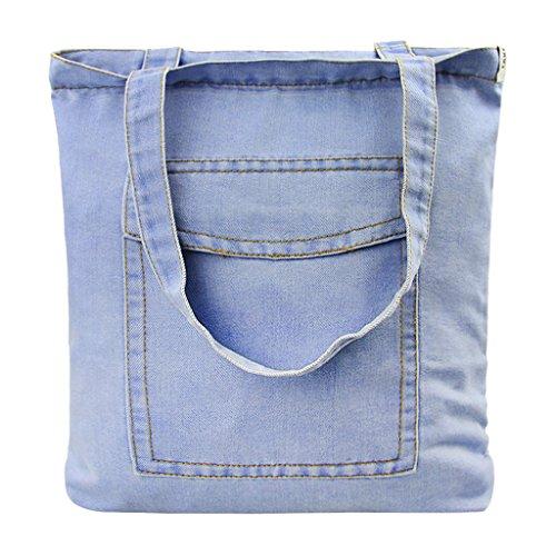 Borsa a tracolla da donna, in tela, con fori, colore: azzurro e blu scuro, #2 (Blu) - FEM-BAG-000123-BC-DE