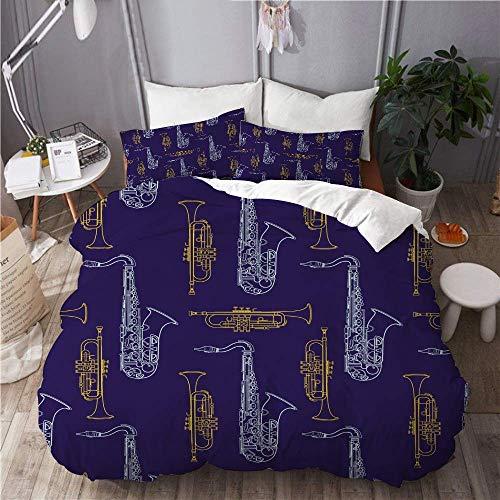 993 CCOVN Bedding Bettwäsche-Set 3 Teilig mit Reißverschluss Vektor Bunte gelbe Trompete blaues Saxophon (220x240cm) und 2*Kissenbezuge(50x80cm)