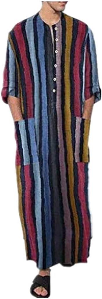 XBTCLXEBCO Mens Muslim Thobe,Men's Kaftan Robe V Neck Roll Up Long Sleeve Cotton Stripe Ultra Long Gown Thobe