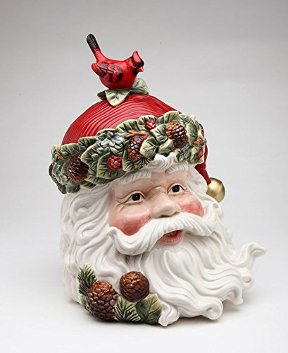 Fine Ceramic Hand Painted Christmas Santa with Red Cardinal and Pinecone Cookie Jar, 10 3/4' H