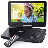 DBPOWER 10.5' Portable DVD Player, 3 Hour Rechargeable Battery,Swivel Screen,Supports SD Card and USB, Direct Play in Formats MP4/AVI/RMVB/MP3/JPEG (10.5, Black), [Importado de UK]