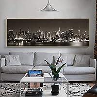 キャンバスに現代の風景都市の夜の絵画印刷された都市の風景の写真ポスターとリビングルームの家の装飾のための壁の芸術を印刷| 60x180cm /フレームなし