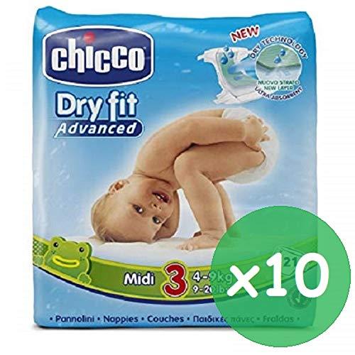 210 pannolini neonato Chicco Veste Asciutto pannolino Misura 3 taglia Midi