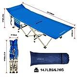 DRMOIS Camping Betten Feldbetten Klappbar, max Statische Belastbarkeit 260 kg Campingliege für Outdoor Camping Reisen Home Lounging Verwenden - Königsblau - 7