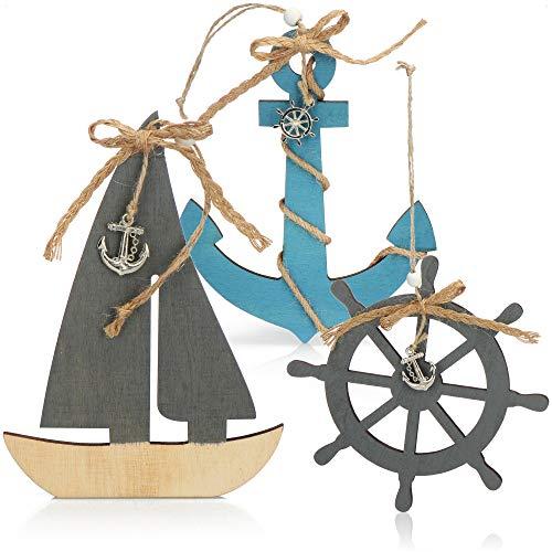 com-four 3X decoración Colgante con Barco, Volante y Ancla de Madera - decoración de envío para Colgar - decoración Colgante marítima para el hogar (03 Piezas - decoración Colgante 18cm)