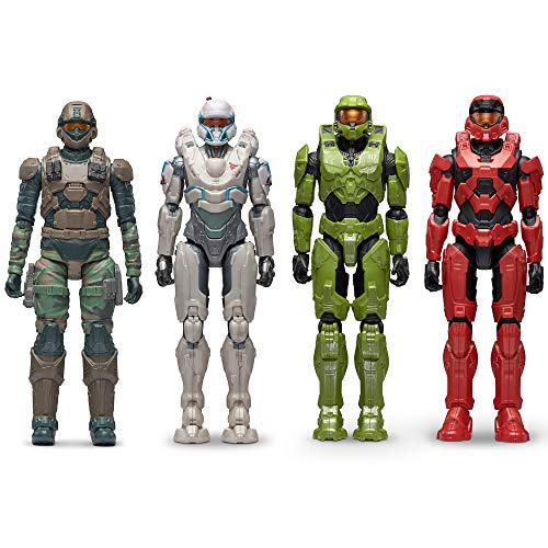 Exclusive Set Halo Master Chief, Spartan Tanaka with DMR, UNSC Marine B with Hydra, Keystone Spartan with Commando, 4 Figure Pack