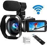 Videocamera 4K Videocamere WiFi Ultra HD con Microfono Videocamera Youtube Videocamere 48.0MP IR per...