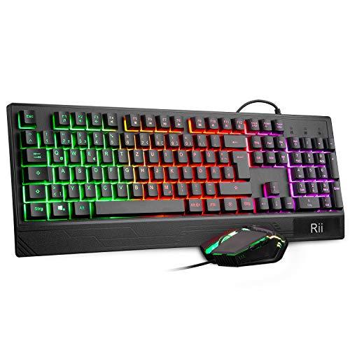 Rii Gaming Tastatur und Maus Set, maus und tastatur, RGB Hintergrundbeleuchtung QWERTZ (DE-Layout), Regenbogen Farben Beleuchtete USB Wasserdicht Tastatur und Maus mit 3200 DPI für Pro PC Gamer