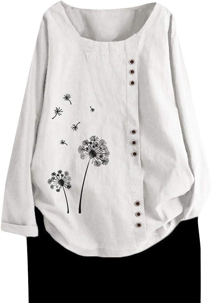 FUNEY Womens Plus Size Tops Crew Neck Long Sleeve Dandelion Print Button Down Cotton Linen T-Shirt Casual Boho Blouse