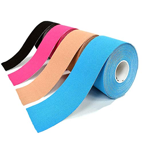 OBTANIM 4 Rolls Waterproof Breathable Cotton Kinesiology Tape, Athletic Elastic Kneepad Muscle Pain Relief Knee Taping for Gym Fitness Running Tennis Swimming Football (Black, Skin, Pink, Light Blue)