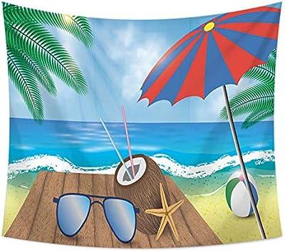 HIMA Tapiz De PoliéSter,Playa de Verano Tapiz De AlgodóN Estampado ...
