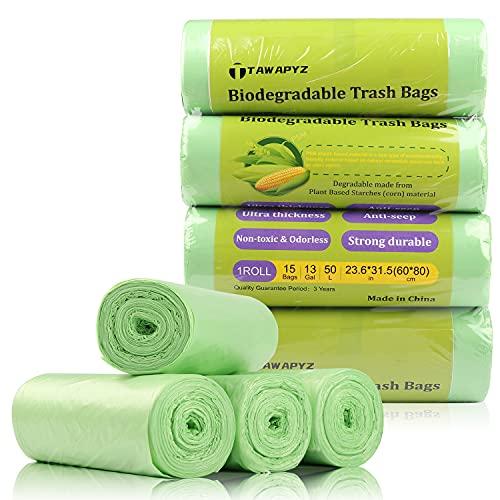 TAWAPYZ Sacs Poubelle Biodégradables, 4 Rouleaux de 60 Sacs Poubelle 50L, Ultra Résistant, Anti-Fuites, 60*80cm