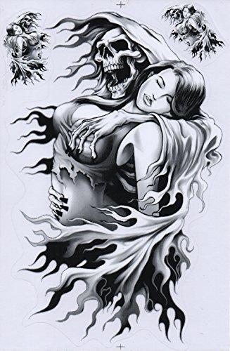 DD Totenkopf Sticker Aufkleber Folie 1 Blatt 27 cm x 18 cm wählbar Wetterfest (schwarz)
