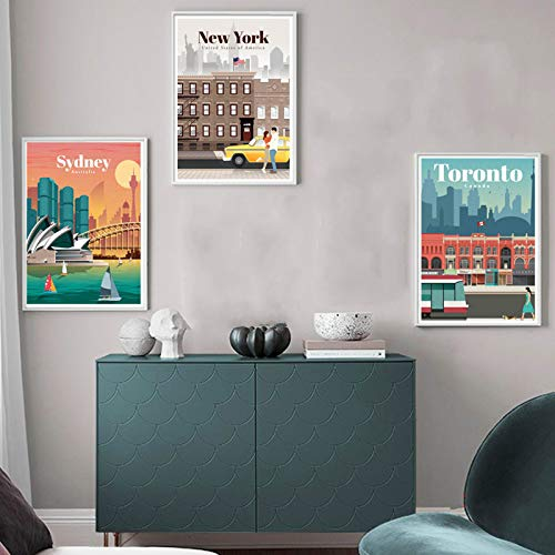 liwendi London New York City Paris Stadtplan Wandkunst Poster Und Druckgrafik Wohnzimmer Dekoration 21X30Cmx3