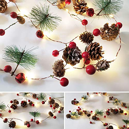 Christmas Garland with Lights Battery Operated Garland Red Berries Pine Cones & Evergreen Pine Needle LED String Lights for Outdoor Indoor Christmas Decorations (7 FT/20 LED)