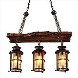 Lámpara retro, COCOL Loft Colgante de madera industrial Lámpara decorativa colgante de metal...