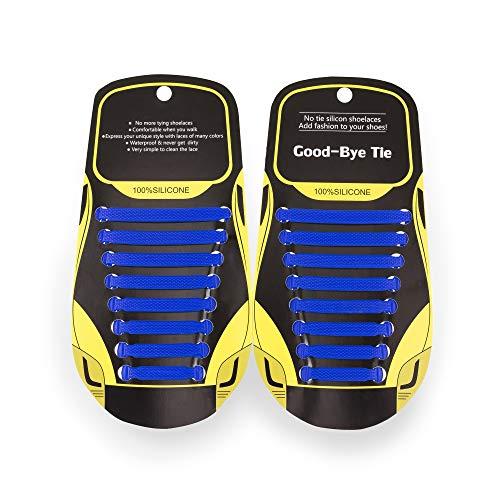 MAROL Elastische Silikon Schnürsenkel – Ohne Binden – Silikonschnürsenkel – Schnürsenkelersatz, Schleifenlose Schuhbänder – Gummischnürsenkel für alle Schuhe – Kinder & Erwachsene (Marineblau)