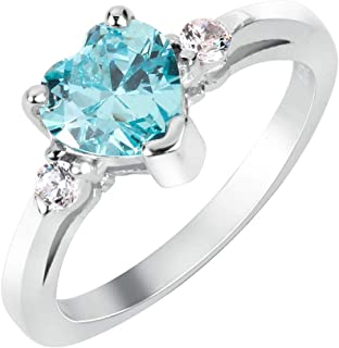 CloseoutWarehouse Cubic Zirconia Heart Promise Ring Sterling Silver (Color Options, Size 3-15)
