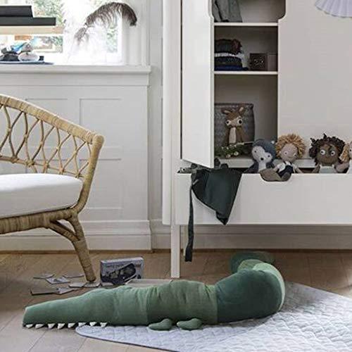 185CM Baby Safer Kissen für Babybett in Krokodil-Form, Bettumrandung Babybett Kantenschut Babybettschlange Kopfschutz Stoßfänger Dekoration für Krippe Kinderbett Baby Keil- und Stützkissen (Grün)
