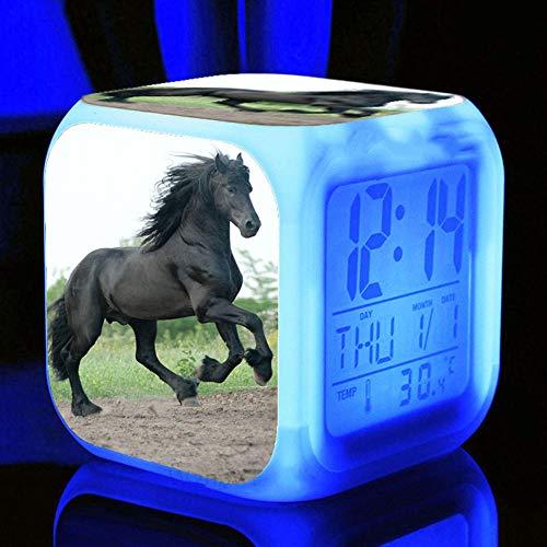 HHCYY Pferd Digitale Wecker Nacht Kinder Wecker Würfel Led Nachtlicht 7 Farben Led Ändernder Wake Up Licht Lichtwecker Für Kinder Frauen Schlafzimmer Wohnkultur(A105)
